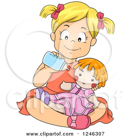 Clipart of a Happy Blond Caucasian Girl Feeding Her Baby Doll a Bottle - Royalty Free Vector Illustration by BNP Design Studio