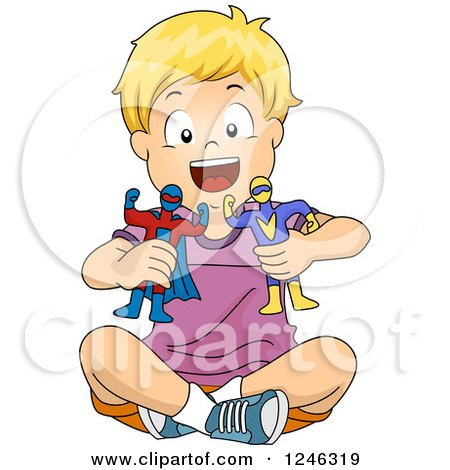 Clipart of a Blond Caucasian Boy Playing with Super Hero Toys - Royalty Free Vector Illustration by BNP Design Studio
