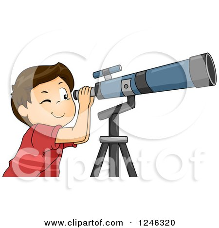 Clipart of a Brunette Boy Looking Through a Telescope - Royalty Free Vector Illustration by BNP Design Studio