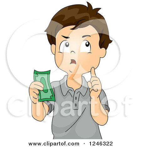 Clipart of a Boy Thinking and Holding Cash - Royalty Free Vector Illustration by BNP Design Studio