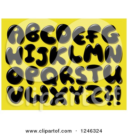 Clipart of a Black Liquid or Oil Capital Letters on Yellow - Royalty Free Vector Illustration by yayayoyo
