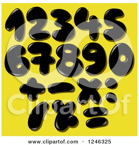 Clipart of a Black Liquid or Oil Numbers on Yellow - Royalty Free Vector Illustration by yayayoyo