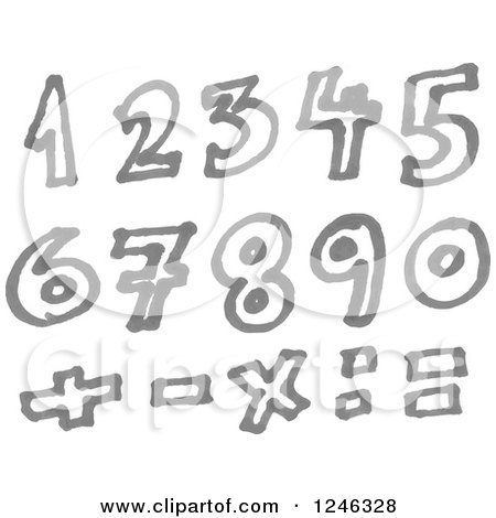 Clipart of a Gray Marker Drawn Numbers and Math Symbols - Royalty Free Vector Illustration by yayayoyo