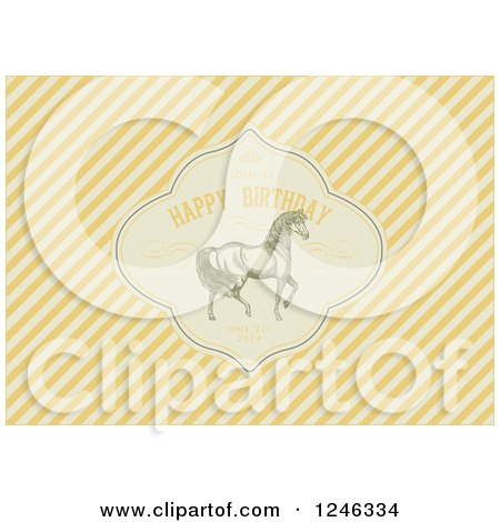 Clipart of a Prancing Horse in a Happy Birthday Frame with Sample Text over Diagonal Yellow Stripes - Royalty Free Vector Illustration by BestVector