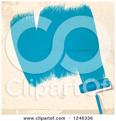 Clipart of a Roller Brush Painting Strokes of Blue on a Beige Wall - Royalty Free Vector Illustration by elaineitalia