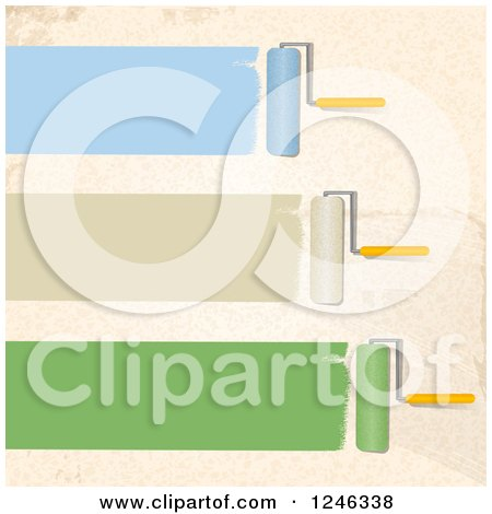 Clipart of Roller Brushes Painting Strokes of Blue Tan and Green on a Beige Wall - Royalty Free Vector Illustration by elaineitalia