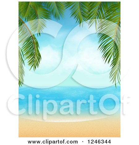 Clipart of a Tropical Beach Framed with Palm Tree Branches - Royalty Free Vector Illustration by elaineitalia