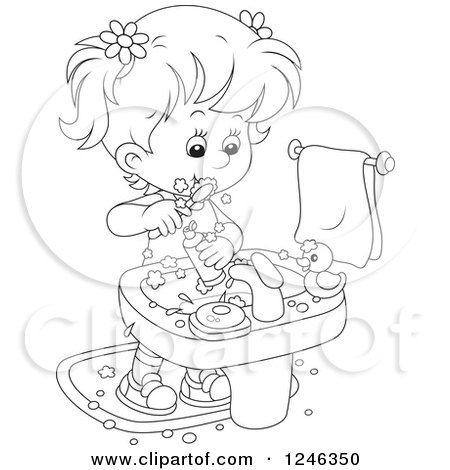 Clipart of a Black and White Girl Brushing Her Teeth - Royalty Free Vector Illustration by Alex Bannykh