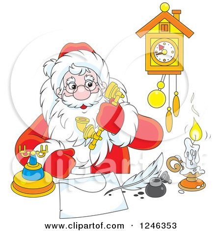 Clipart of Santa Claus Taking a Phone Call While Writing at a Desk - Royalty Free Vector Illustration by Alex Bannykh
