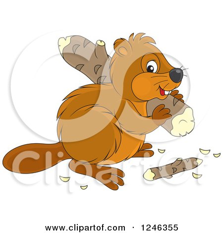 Clipart of a Cute Beaver Carrying a Wood Log - Royalty Free Vector Illustration by Alex Bannykh