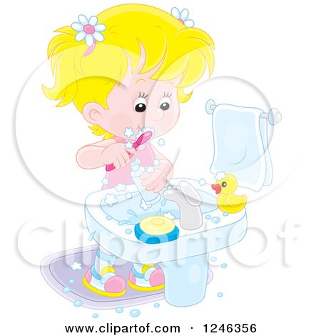 Clipart of a Blond Caucasian Girl Brushing Her Teeth - Royalty Free Vector Illustration by Alex Bannykh
