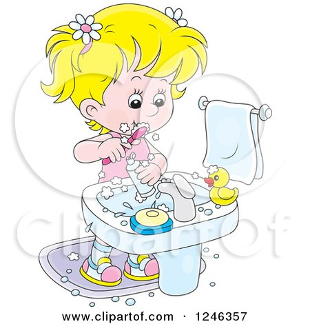 Clipart of a Blond Girl Brushing Her Teeth - Royalty Free Vector Illustration by Alex Bannykh