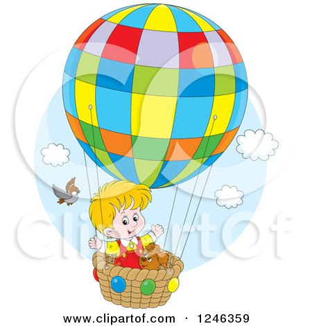 Clipart of a Bird by a Boy and Dog Flying in a Colorful Hot Air Balloon - Royalty Free Vector Illustration by Alex Bannykh