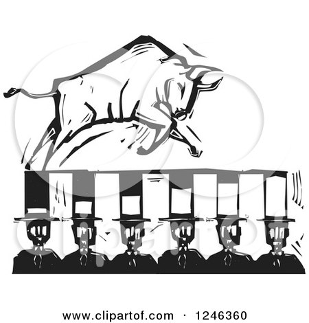 Clipart of a Woodcut Black and White Charging Bull on Banker Top Hats - Royalty Free Vector Illustration by xunantunich