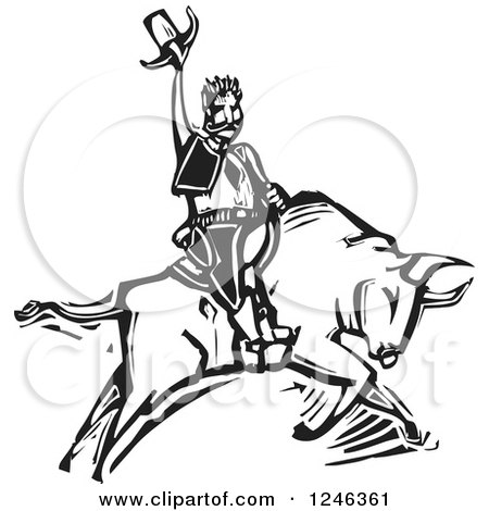 Clipart Of A Woodcut Black And White Rodeo Cowboy On A Bull Royalty Free Vector Illustration