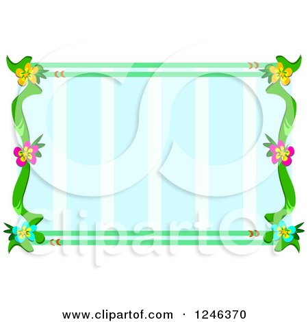 Clipart of a Flower Frame over Blue Stripes - Royalty Free Vector Illustration by bpearth