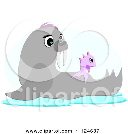 Clipart of a Cute Seal and Fish - Royalty Free Vector Illustration by bpearth