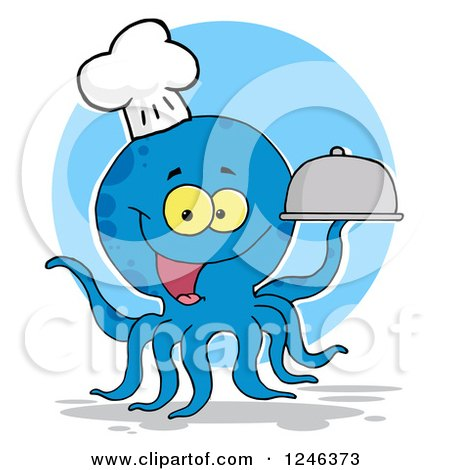 Clipart of a Happy Blue Chef Octopus Holding a Dome Platter over a Circle - Royalty Free Vector Illustration by Hit Toon