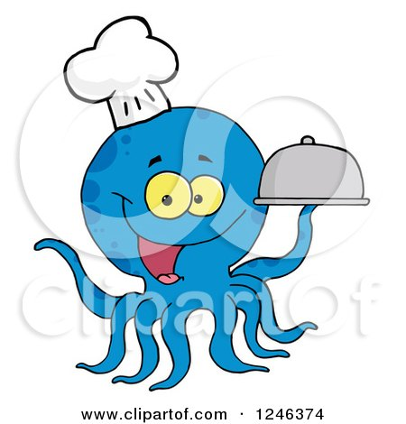 Clipart of a Happy Blue Chef Octopus Holding a Cloche Platter - Royalty Free Vector Illustration by Hit Toon