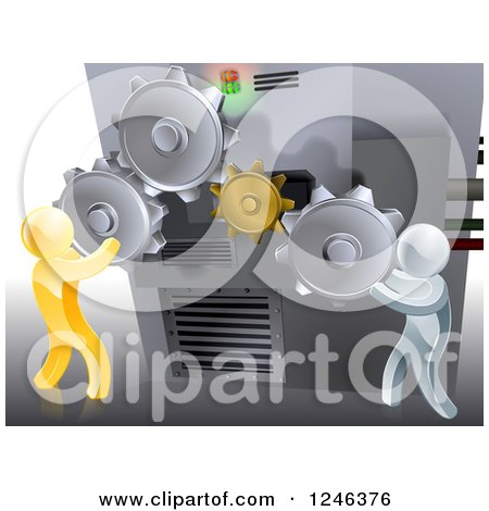 Clipart of 3d Gold and Silver Men Adjusting Gear Cogs Ona Machine - Royalty Free Vector Illustration by AtStockIllustration
