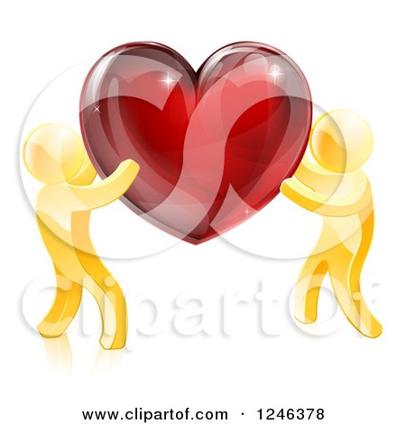 Clipart of 3d Gold People Holding up a Shiny Red Heart - Royalty Free Vector Illustration by AtStockIllustration