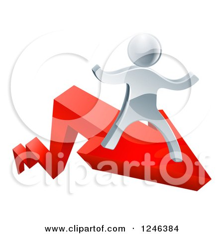 Clipart of a 3d Successful Silver Man Riding on a Red Arrow - Royalty Free Vector Illustration by AtStockIllustration