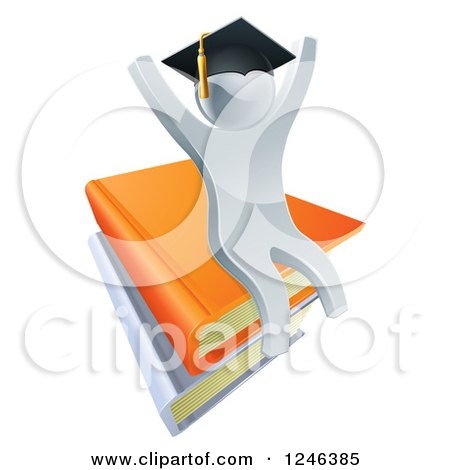 Clipart of a 3d Silver Person Graduate Cheering and Sitting on a Stack of Books - Royalty Free Vector Illustration by AtStockIllustration