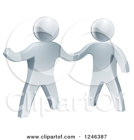 Clipart of 3d Silver Men Shaking Hands and One Presenting - Royalty Free Vector Illustration by AtStockIllustration