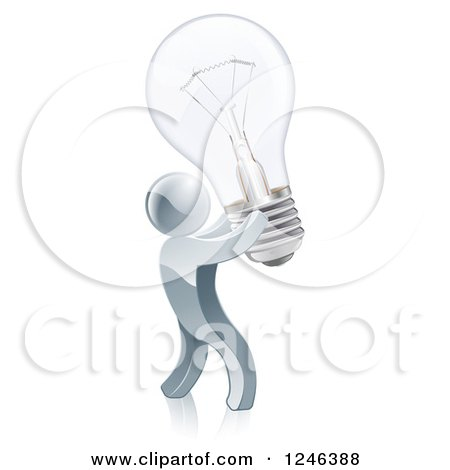 Clipart of a 3d Silver Man Inventor Holding up a Light Bulb - Royalty Free Vector Illustration by AtStockIllustration