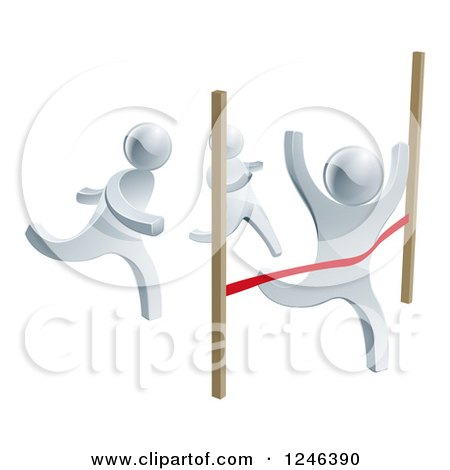 Clipart of 3d Silver Men Racing, One Crossing the Finish Line - Royalty Free Vector Illustration by AtStockIllustration