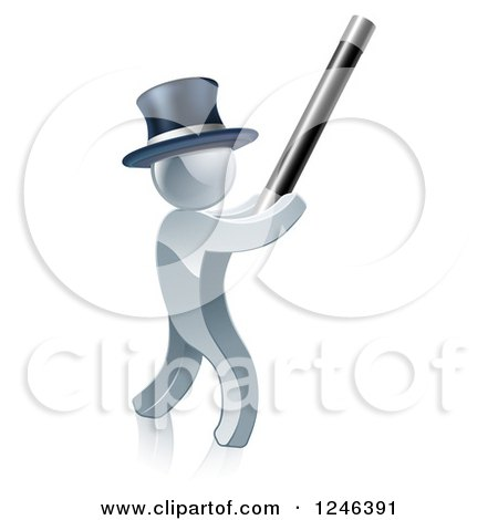 Clipart of a 3d Silver Man Magician Using a Baton - Royalty Free Vector Illustration by AtStockIllustration