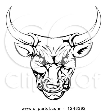 Clipart of a Black and White Snarling Aggressive Bull Mascot Head - Royalty Free Vector Illustration by AtStockIllustration