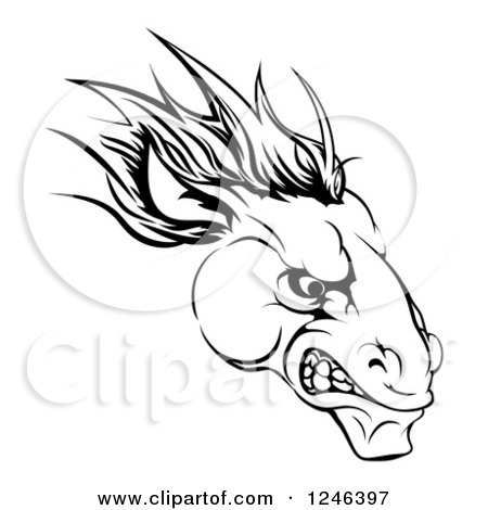 Clipart of a Black and White Aggressive Horse Mascot Head - Royalty Free Vector Illustration by AtStockIllustration