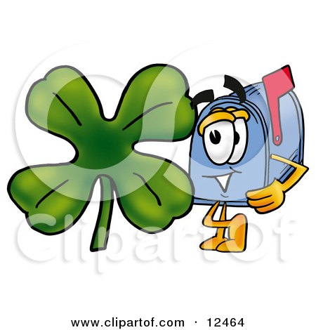 Clipart Picture of a Blue Postal Mailbox Cartoon Character With a Green Four Leaf Clover on St Paddy's or St Patricks Day by Toons4Biz