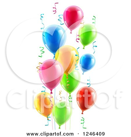 Clipart of 3d Colorful Party Balloons and Confetti Ribbons - Royalty Free Vector Illustration by AtStockIllustration