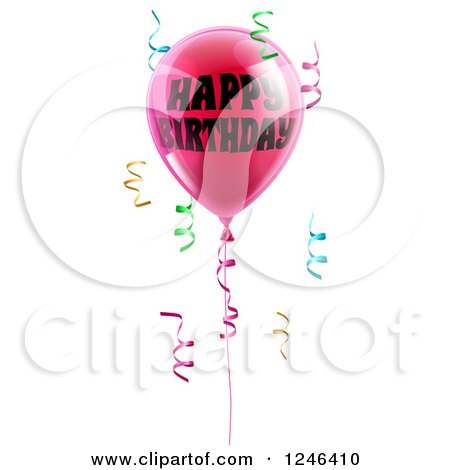 Clipart of a 3d Pink Party Balloons and Confetti Ribbons with Happy Birthday Text - Royalty Free Vector Illustration by AtStockIllustration