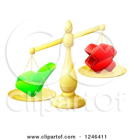 Clipart of 3d Gold Scales Weighing a Decision Check Mark and X Cross - Royalty Free Vector Illustration by AtStockIllustration