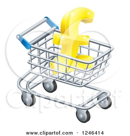 Clipart of a 3d Gold Lira Pound Symbol in a Shopping Cart - Royalty Free Vector Illustration by AtStockIllustration