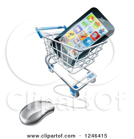 Clipart of a 3d Computer Shopping Cart with a Cell Phone Inside - Royalty Free Vector Illustration by AtStockIllustration