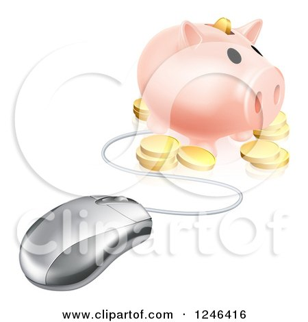 Clipart of a 3d Computer Mouse Wired to a Piggy Bank with Coins - Royalty Free Vector Illustration by AtStockIllustration