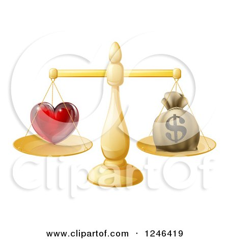 Clipart of a 3d Gold Scale Weighing Love and a Money Bag - Royalty Free Vector Illustration by AtStockIllustration