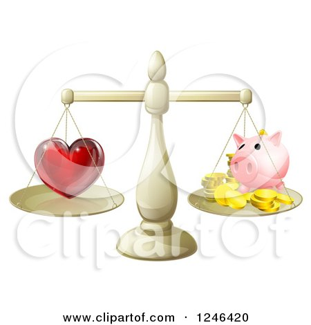 Clipart of a 3d Scale Weighing Love and a Piggy Bank - Royalty Free Vector Illustration by AtStockIllustration