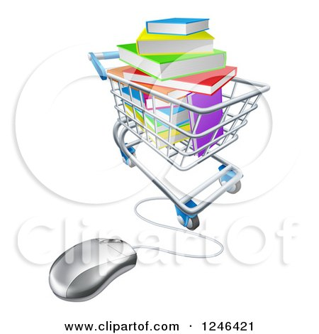 Clipart of 3d Books Piled in a Shopping Cart Wired to a Computer Mouse - Royalty Free Vector Illustration by AtStockIllustration