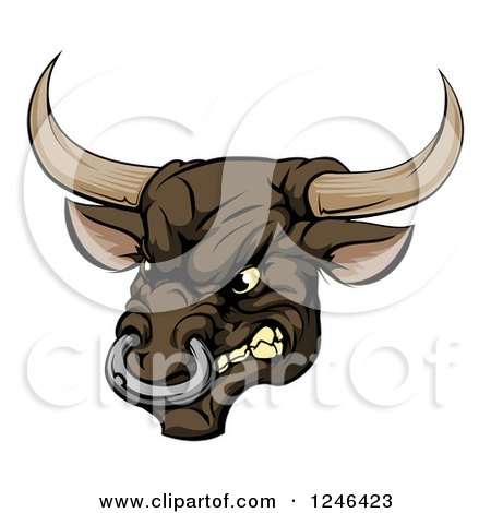 Clipart of a Snarling Aggressive Bull Mascot Head - Royalty Free Vector Illustration by AtStockIllustration