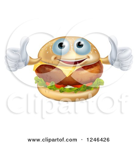 Clipart of a Pleased Cheeseburger Holding Two Thumbs up - Royalty Free Vector Illustration by AtStockIllustration