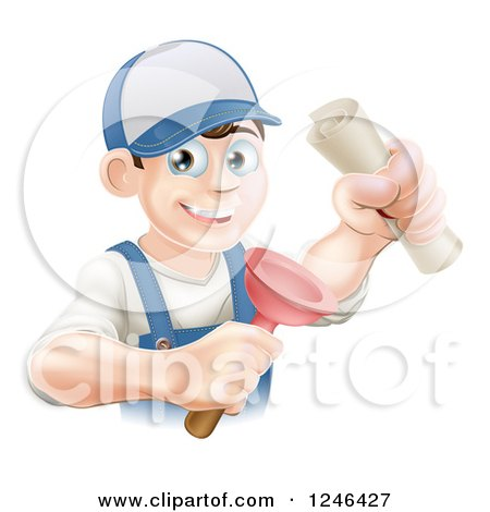 Clipart of a Brunette Male Plumber Holding a Certificate and Plunger - Royalty Free Vector Illustration by AtStockIllustration