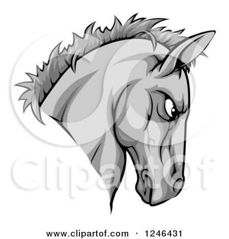 Clipart of a Gray Aggressive Horse Mascot Head - Royalty Free Vector Illustration by AtStockIllustration