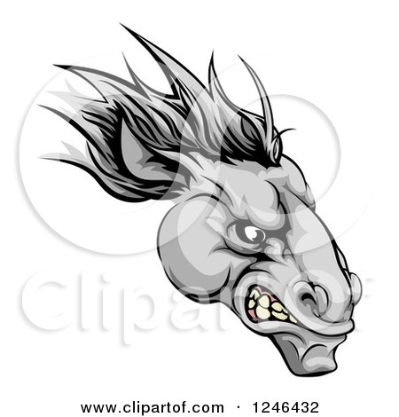Clipart of a Gray Snarling Horse Mascot Head - Royalty Free Vector Illustration by AtStockIllustration