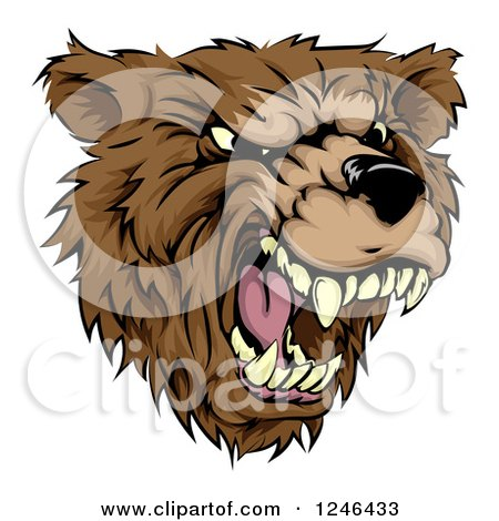 Clipart of a Roaring Aggressive Bear Mascot Head - Royalty Free Vector Illustration by AtStockIllustration