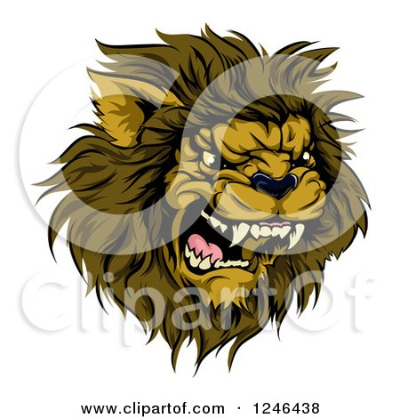 Clipart of a Roaring Aggressive Male Lion Mascot Head - Royalty Free Vector Illustration by AtStockIllustration
